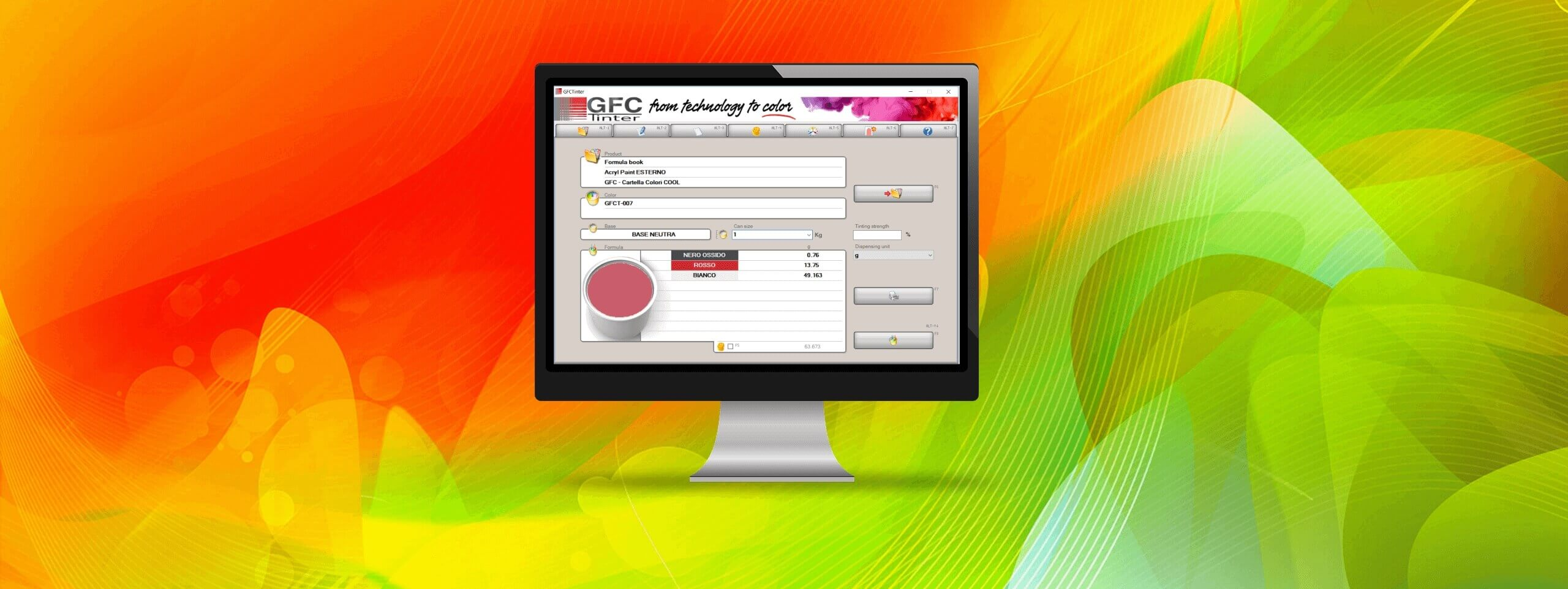 GFCTinter: Software formulativo colore